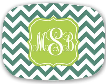 personalized melamine platter - monogram chevron