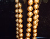 PEARL NECKLACE, Downton Abby 1920 Style   Long and Large Bright Beautiful. Length  36 in Strand of Glass 18mm Pearls.