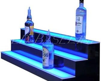 """28"""" 3 Step Bar Shelf Display Liquor Glass Bottles Color Changing"""