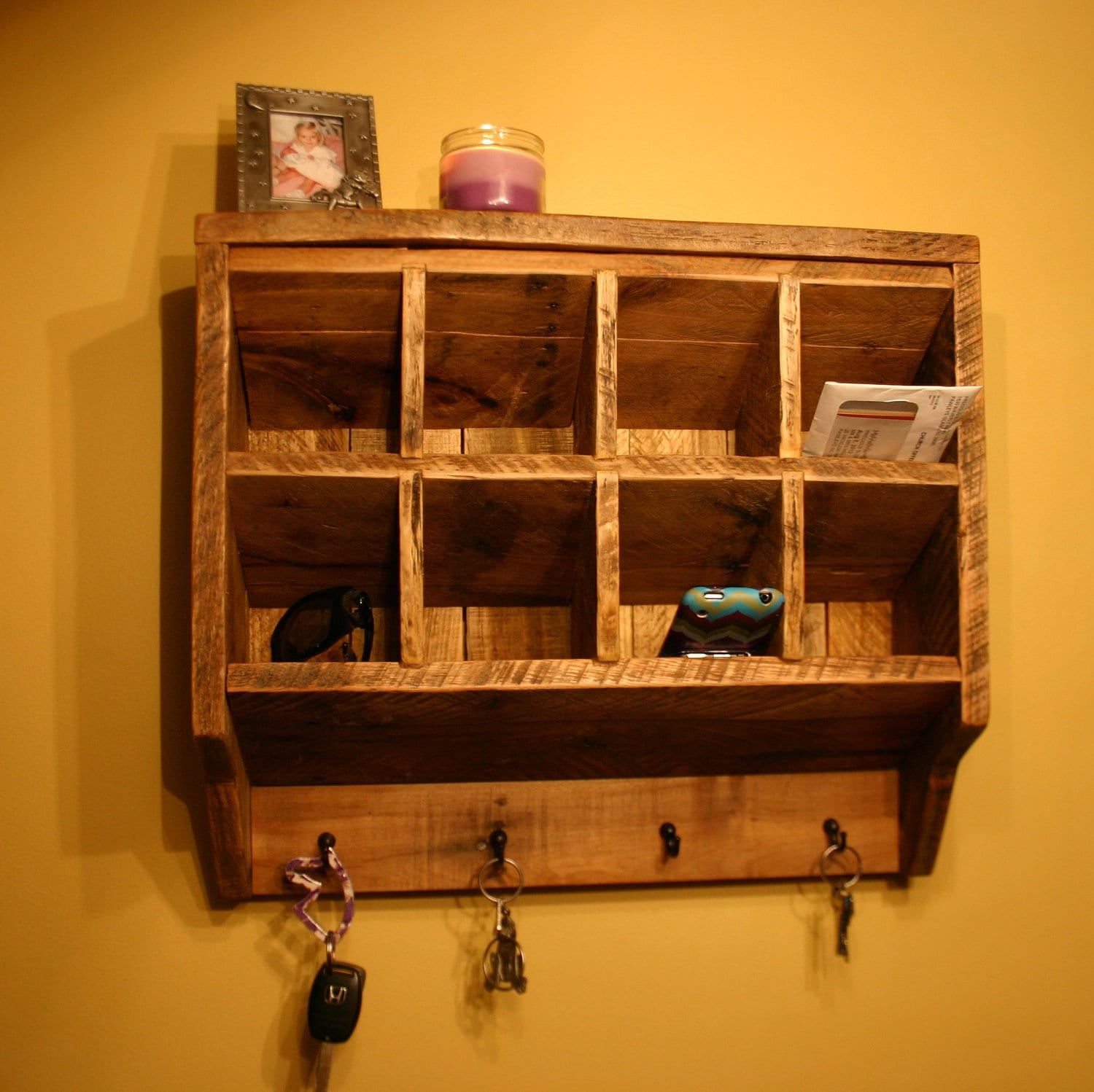 Key rack holder wall organizer reclaimed wood - Key racks for wall ...