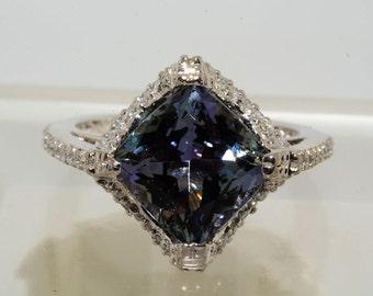 4.17ct Cushion cut Tanzanite & .56ctw Diamond ring size 7.25