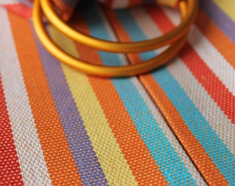 SALE - Baby Ring Sling Carrier, Multicolor Rainbow Colorful Sling, Cotton, Pinstripes, Handmade in Latvia - Ready to ship