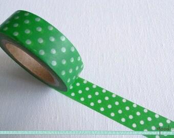 Washi Tape - Polka Dots, White on Green // Polka Dots Washi Tape, Green Polka Dots Washi Tape, Green Washi Tape, Masking Tape // 10m
