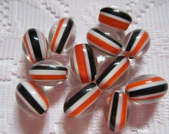 10  Halloween Orange Black & White Striped Furnace Cane Glass Beads  15mm x 10mm