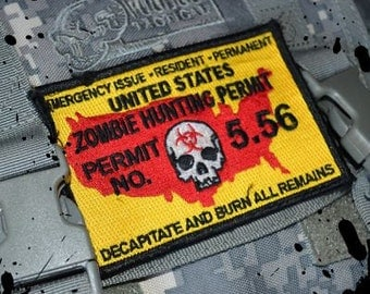Zombie Hunting Permit military morale Velcro Patch