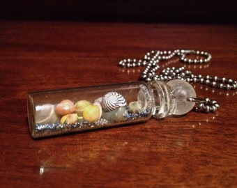 Fancy Shell-Filled Glass Vial Pendant 7