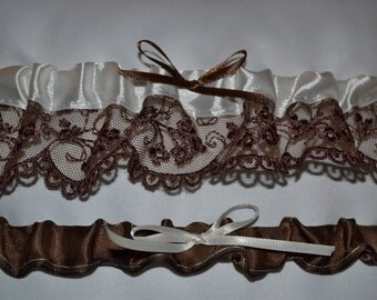 Ivory & Brown Lace Garter