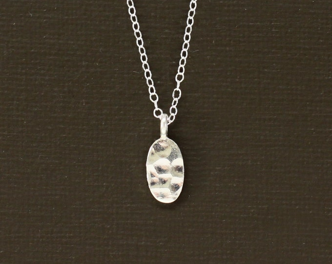 Sterling Silver Hand Hammered Small Oval Drop Necklace
