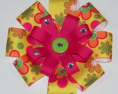 Large Happy Groovy Flower Bow - 5 3/4 inch Bow
