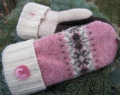 UPCYCLED WOOL MITTENS, Pink & Brown Fairisle, Recycled Sweater Wool (93)