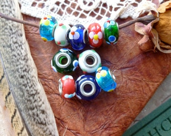 10 x Glass Bead Charms Mixed, Supplies, Jewelery Making