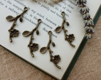4x Blossom Branch Flower Charms, Antique Brass Pendants C36