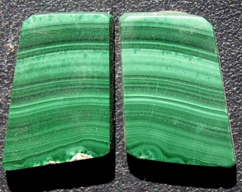 Malachite   cabochon bookmatched pair
