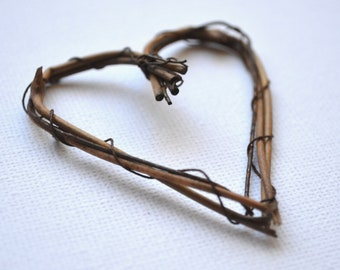 Wood / twig hearts, crafts, cards, wedding favors, cake tooper
