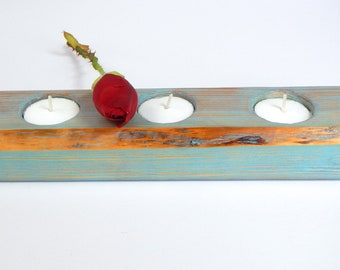ROMANTIC shabby chic tea light candle holder holds 3 tea light candles rustic beach cottage wedding center pieces