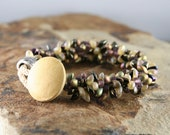 Pot of Gold Bracelet, Handcrafted Bracelet, Braided Bracelet with Magatama beads and button closure by CAAzandeffect