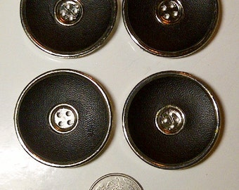 LOT of 4 Buttons - Silver & Dark Brown Faux Leather - Plastic Buttons