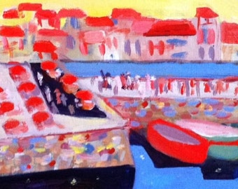 Collioure, Southern  France Landscape, original signed, titled, painting on board by Michelle Winters