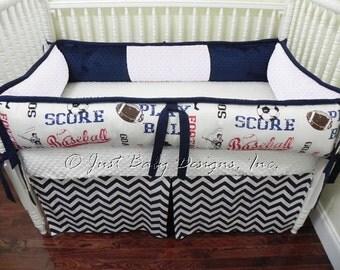 Custom Baby Bedding Set Ryan -  Boy Crib Bedding, Sports Baby Bedding, Baseball Crib Bedding, Navy Chevron