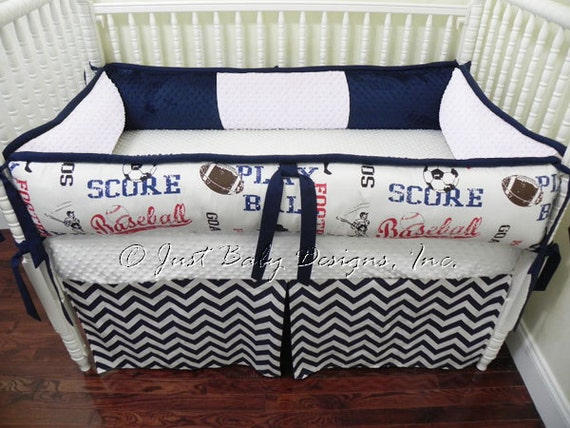 Custom Baby Bedding Set Ryan Boy Crib Bedding Sports Baby