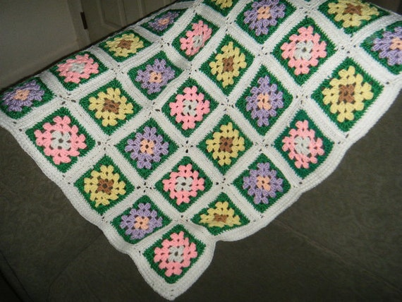 Granny Square Baby Afghan or Lap Blanket Handmade by Grandma Pretty Flowers