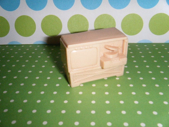 Vintage Plastic Dollhouse Furniture 1950's TV Television and Fold Out Record Player Console Set KITSCHY
