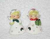 Vintage Christmas Holiday Angel Bell bells Napco Lefton Shopper Girl  figurine Candle Present Japan Ornament Decoration