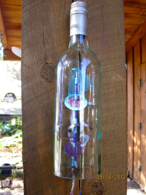 Items similar to clear wine glass wine bottle wind chime for Glass bottle wind chimes