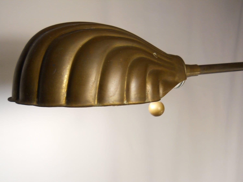 Vintage berman brass shell floor lamp with adjustable height for Antique brass adjustable height floor lamp
