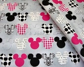 CM008 - 1 Yard SDLP Cotton Fabric -  Disney Cartoon Characters, Mickey Mouse - Light Gray