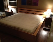 Modern asian inspired platform style bed frame made from sustainably sorced vertical grain fir solids and veneers.