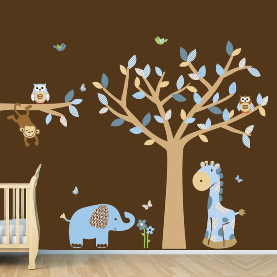 Blue Brown Boys Room Jungle Wall Decal, Monkey Decal, Elephant Sticker, (BlueBrown animals tree branch)