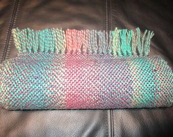Spring Garden -- hand woven wool scarf
