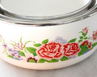 Set of Three Nested Floral Enamel Bowls