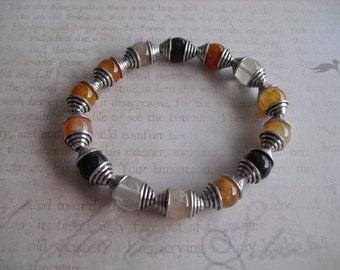Rutilated quartz stone bracelet