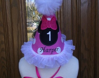Girls First Birthday Party Hat - Minnie  Mouse Birthday Hat - Birthday  - Free Personalization