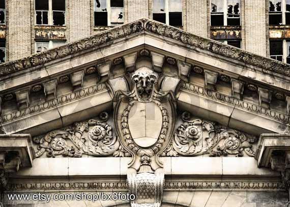 Detroit train station detail - metallic photo paper print