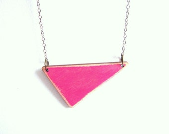 Coral  Triangle Necklace, Wood Geometric Necklace,Geometric Jewelry