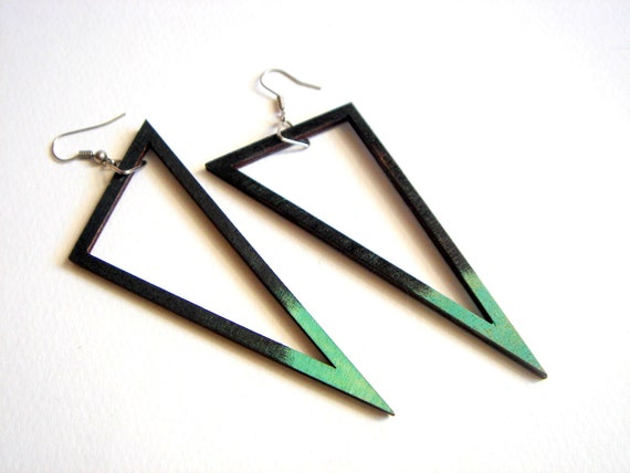 Geometric Earrings , Wood Triangles Earrings,Geometric Jewelry