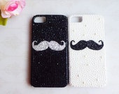 Black and white matte rhinestone mustache case for Apple iPhone 4/4s/5/5s/5c---High quality case