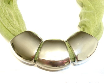 Jewelry Scarf Jewelry Green Scarf With Large Rings Sold Whole Set With Scarf Free Shipping In US