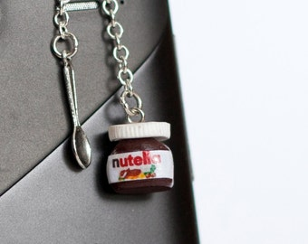 Nutella  polymer clay Anti dust plug for phone with tiny teaspoon miniature food jewelry