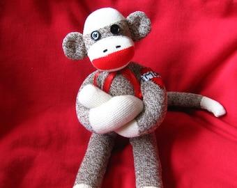 Sock Monkey - Heart Mom Tattoo - Handmade - Rockford Red Heel Socks