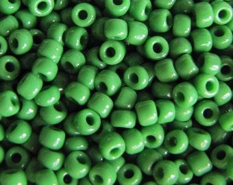8/0 Green Seed Beads, Seed Beads,  Opaque Green Seed Beads,   #4481,  Japanese Seed Beads,  20 grams Item #134