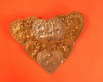 Vintage Heart Brooch Large  Hand crafted Mixed Metal and Stamped  Design