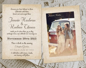 Wedding Invite and RSVP - Sydnee Vintage Rustic Personalized Card Suite