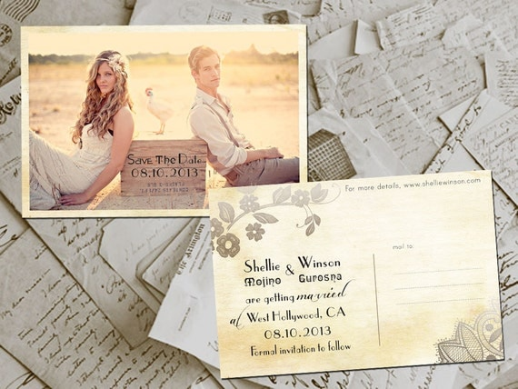 """Wedding Save The Date Cards - HangingGarden Vintage Lace Photo Personalized 4""""x6"""""""