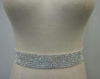 Wedding Belt, Bridal Belt, Sash Belt, 8 Rows of Crystal Rhinestone - Style B165