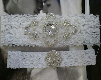 Wedding Garter, Bridal Garter - White Garter set with Rhinestone - Style G2501