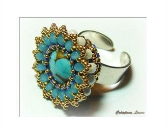Pattern / Tutorial Beaded Floralie ring